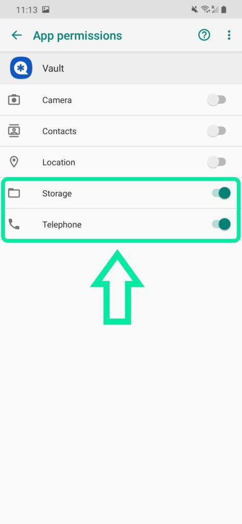 Vault Storage and Telephone  access should be enabled