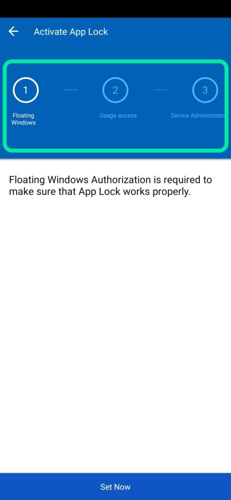 Activate Application lock first