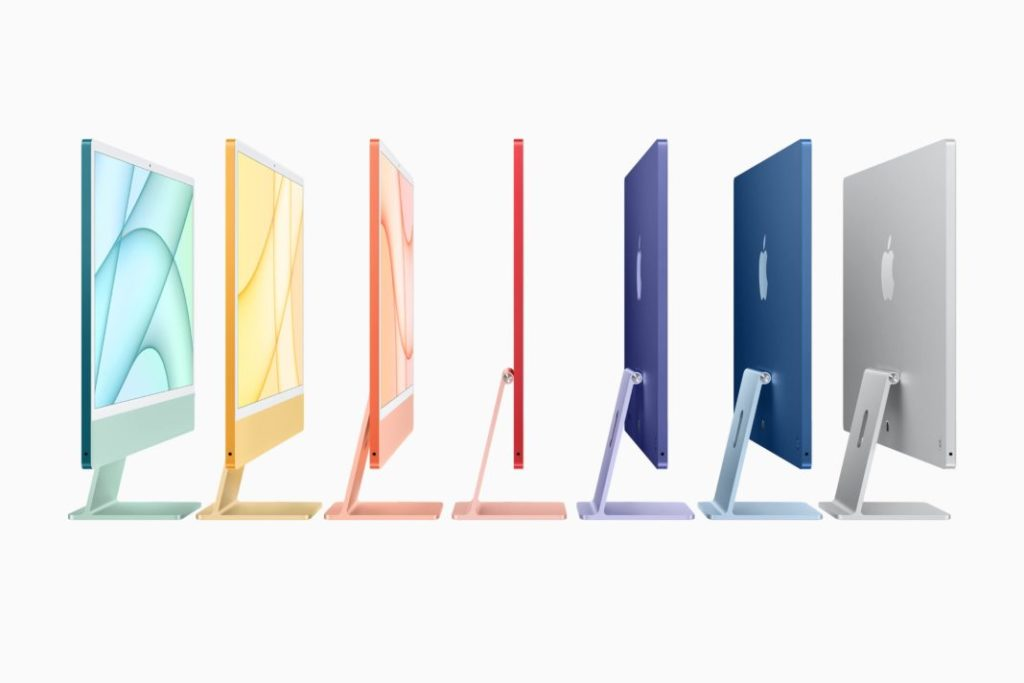 new iMac comes in a spectrum of seven vibrant colors — green, yellow, orange, pink, purple, blue, and silver