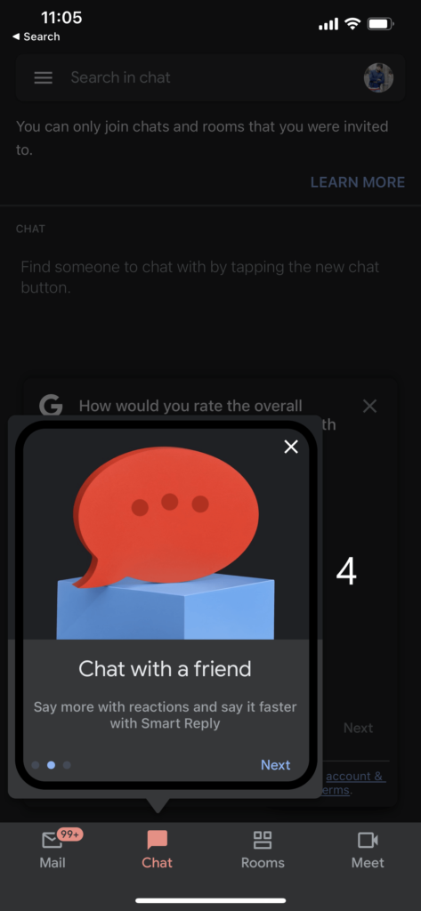Chat with a friend on Android and iOS allows you to chat will your colleagues